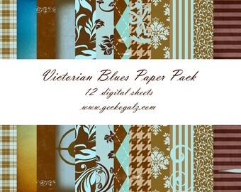 Victorian Blues Digital Paper Pack