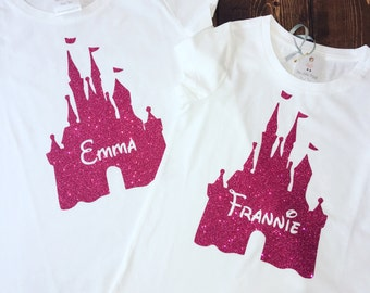 MOMMY & ME SISTER Cousins Best Friends Family Hot Pink Glitter Princess Castle Personalized Disney Trip Tee Onesie