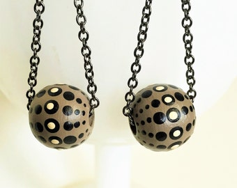Galactic Earrings - Taupe, Black and White Painted Dangle Dots with Mid-Century Space Graphics