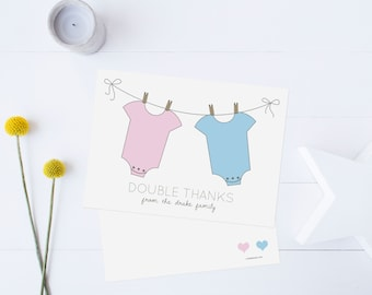 Twins Thank You Cards, Triplets Thank You Cards, Baby Shower Thank You Cards, Girl Twins, Boy Twins // Boy or Girl // Flat  // Set of 25