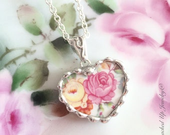 Broken China Jewelry. Broken China Necklace, Pink Rose, Yellow Rose China Necklace
