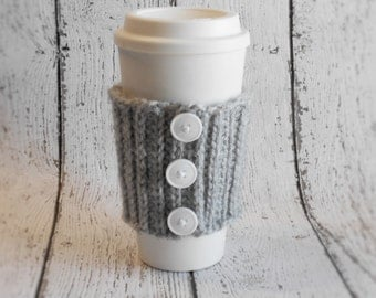 Crochet Coffee Cozy- Grey