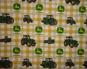 Brown/Yellow/White John Deere Plaid Cotton Fabric by  Yard