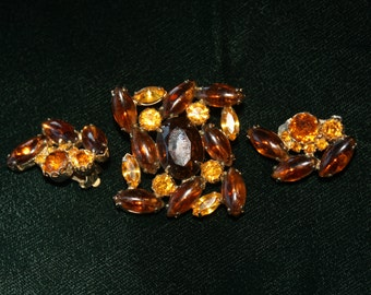Vintage Amber Faceted Stone Brooch with Earrings Demi Parure