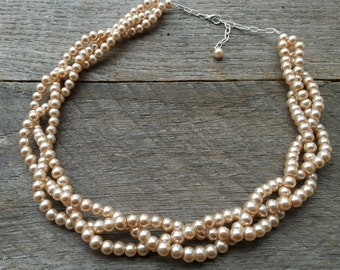 Pink Champagne Pearl Necklace Bridal Necklace Braided Cluster on Silver or Gold Chain