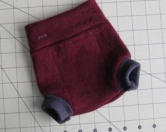 Garnet and Charcoal Wool Diaper Cover Shorties size newborn/0-3 months