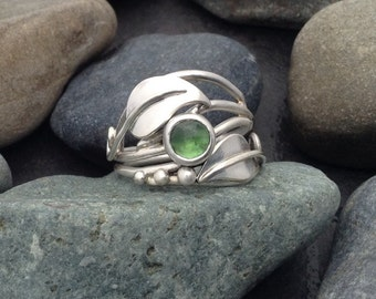 Green tourmaline leaf ring with leaves and sterling silver vines branches tendrils, individually handcrafted size 8.25 Elfin Works design