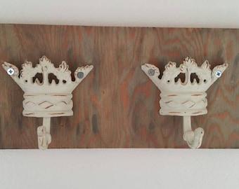 Cast Iron Crown and Reclaimed Wood Wall Key Holder Key Hanger Key Hook