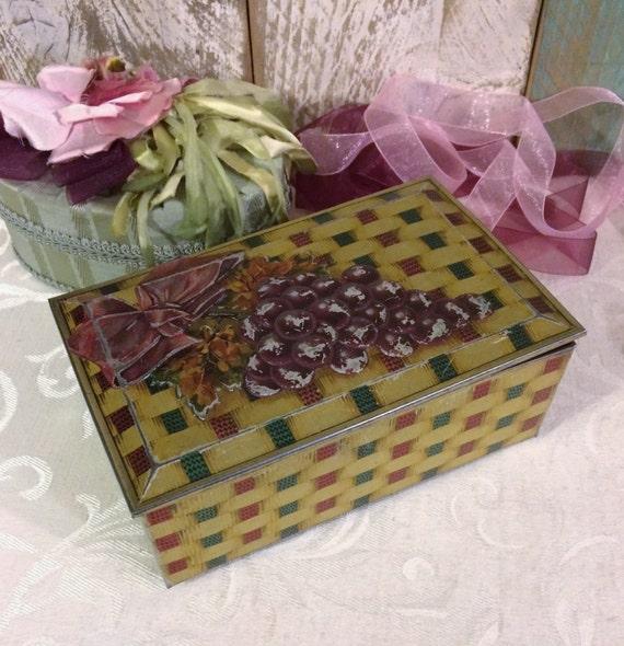 SALE reg 45.00 Basket Look Vintage Biscuit Tin, 1930s Jacobs, Basket Weave Ribbons, Purple Grapes, Pretty Patina, Antique Tin Box