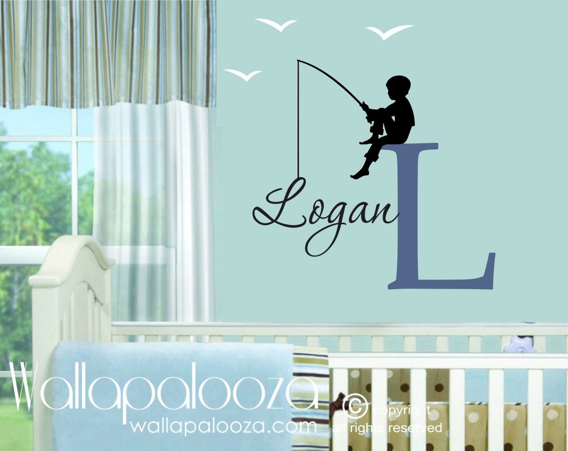 fishing wall decal boys name wall decal children wall. Black Bedroom Furniture Sets. Home Design Ideas