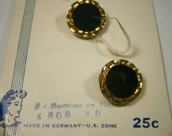 Two Black Glass Buttons with Gold Trim, Made in Germany, New Vintage Buttons on Store Card