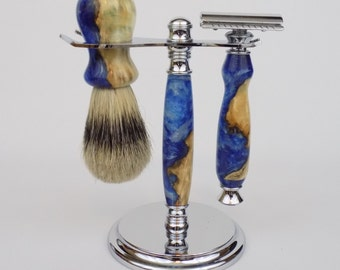 Cottonwood Burl Wood and Blue/White Acrylic Swirls Fusion Shaving Set with Silvertip Shaving Brush