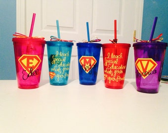 Personalized Autism Special Education Tumbler Cup Glass