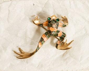 Ribbit Ribbit Leaping Enameled Gold Tone Metal Frog Brooch Pin Green Rhinestone Eyes