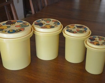 Mid Century Modern Rubbermaid Harvest Gold Kitchen Canister Set with Mushrooms