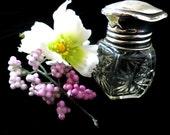Small perfume bottle, cut glass, scent bottle, sterling silver lid, glass stopper, Birmingham silver, Art Deco, 5 sided bottle