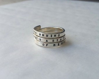 Fleetwood Mac Handstamped Sterling Silver Ring, Dreams unwind love's a state of mind. 925 -Adjustable