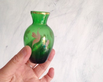 Tiny green gold vase