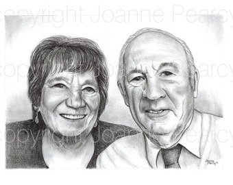 Custom pencil portrait A3 illustration of 2 people from your photo of children parents friends in Black and white. Great custom gift idea