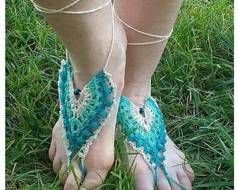 Peacock Crocheted Barefoot sandals