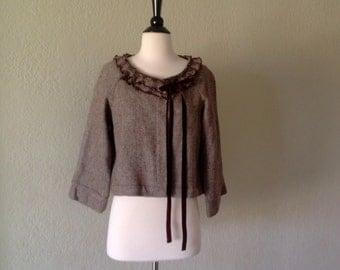 Brown and cream tweed jacket / short bolero style jacket with ruffle collar and velvet ribbon detail / size Large