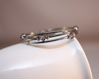 Purple and Silver Memory Wire Braclet