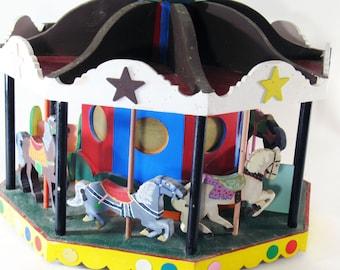 Toy, Carousel, Merry-Go-Round, Handmade, Vintage, Folk, Home Decor, Carnival