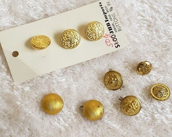 Assortment of 9 Gold Toned Shank Buttons, Classic Vintage Buttons