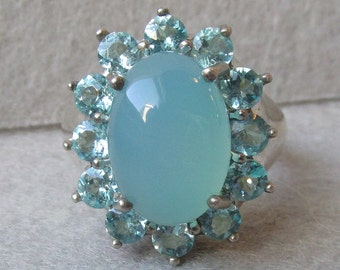 Elegant Sterling Silver with Glowing Aqua Blue Chalcedony & Blue Topaz Vintage Ring, Size 7
