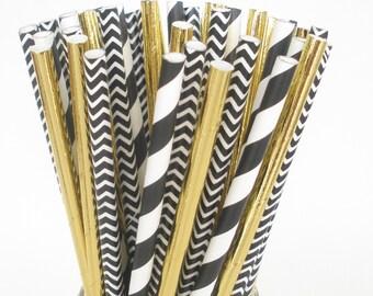 "Paper Straws ""BLACK & GOLD"" Party Mix…Elegant Wedding / Plastic Mason Jar Paper Straws / Birthdays Party Favors"