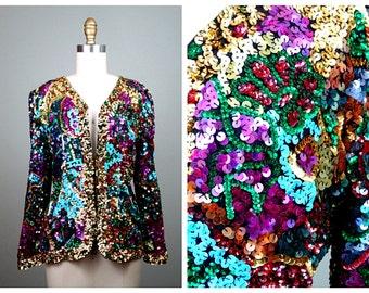 Vibrant Sequin Evening Jacket // Multicolored Sequined Blazer // Fully Embellished Flashy Jacket S