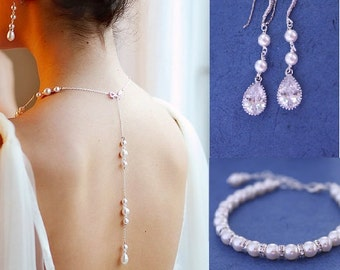 Long backdrop necklace - Swarovski pearls 3 pcs SET - Pearl Jewelry sets with Bracelet and Earrings, Wedding jewellery. Pearl jewellery