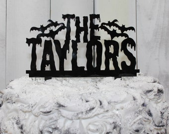 Halloween/Cake Topper/Acrylic/Cake Decor/Mr and Mrs/Wedding/Party/Personalized/Surname/Bats/Gothic Wedding/Goth