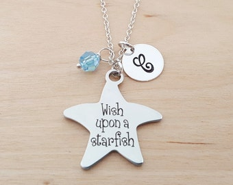 Wish Upon A Starfish Necklace - Beach Necklace - Personalized Initial Necklace - Sterling Silver Necklace - Swarovski Birthstone Necklace