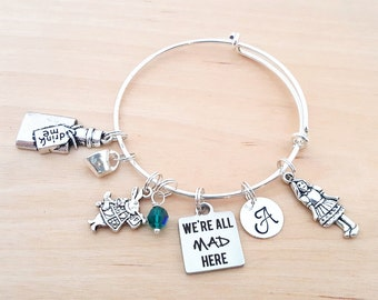 Alice in Wonderland Bracelet - We're All Mad Here - Personalized Bracelet - Adjustable Bangle - Birthstone Bracelet - Personalized Jewelry