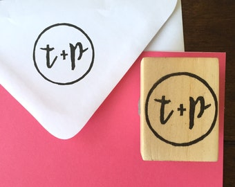 Custom Initials Hand-Carved Rubber Stamp, Save the Date, Wedding Invitation