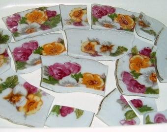 40% Off, Broken china, Mosaic Tiles, Mosaic Supplies, Rose china, Hand Cut, roses