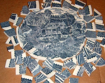 40% Off,  Vintage, Broken China, Stoneware, Mosaic Focal, Mosaic Supplies, Currier and Ives, Blue China, Hand Cut