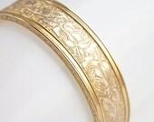 Wide Gold-filled Bangle, vintage gold filled bangle, hinged bangle, rose motif bangle, antique bangle bracelet, Victorian Revival bangle
