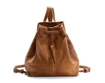 Brown Leather Backpack Purse Leather Tote Bag Laptop