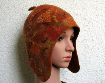 Women's felted earflap orange hat Mens felted trapper hat Handmade felted trapper hat Bergschaf wool Ready to ship Cap hat with ear flap