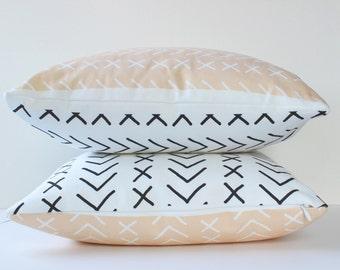 Laces Pillow Cushion Cover, Geometric Home Decor, Modern Pillow, 16 x 16 Pillow Cover, Geometric Pillow, Sofa Cushion Cover, Peach Decor