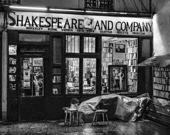 Paris Photography Shakespeare And Company Paris Black and White Fine Art Photography Large Wall Art Paris Urban Street Photography