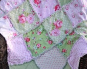 "33x42""  Vintage Inspired Fabrics from Tanya Whelan 100% Cotton Rag Quilt in Pink and Green with Flannel Batting Inside Ready to Ship"