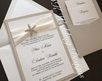 Starfish Pocket Wedding Invitation, Beach Wedding Invite, Wedding Pocketfold, Wedding Invitation, STAR