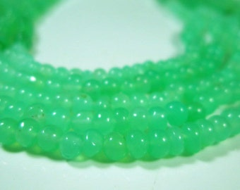 """AAA Chrysoprase Smooth Rondelles- 16""""Strand-Stone measures -3mm"""
