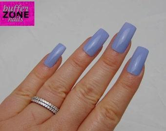 Hand Painted Press On False Nails, Grey Blue, Long Length