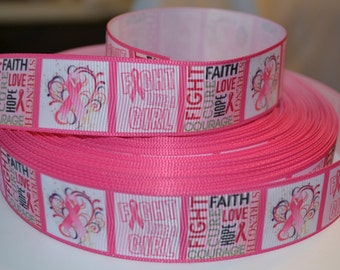 """Breast Cancer Hope Fight 1"""" Grosgrain Ribbon for Hair Bows, Kids Crafts, Scrapbook Deco, Cards Making, Gift Wrapping"""