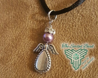 Angel Pendant - Silver and Lavender Pearl with Rhinestone Halo Free Domestic Shipping