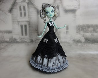 Long black and silver grey  victorian dress hand made fits Monster High doll